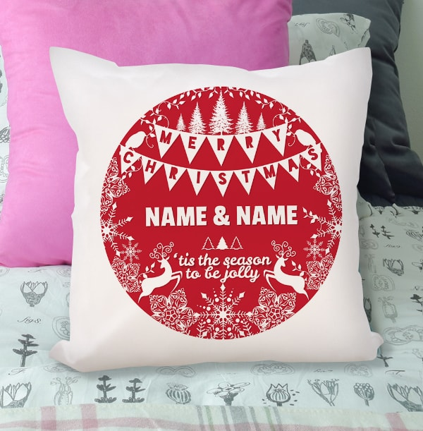 The Season To Be Jolly Personalised Cushion