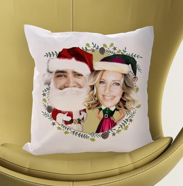 Mr & Mrs Claus Photo Cushion