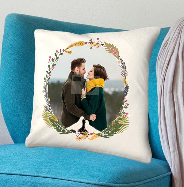 Festive Wreath Photo Cushion