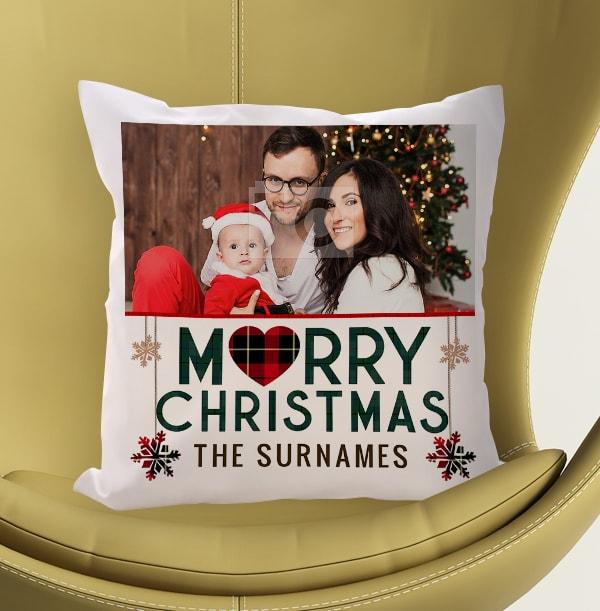 Merry Christmas Photo Cushion