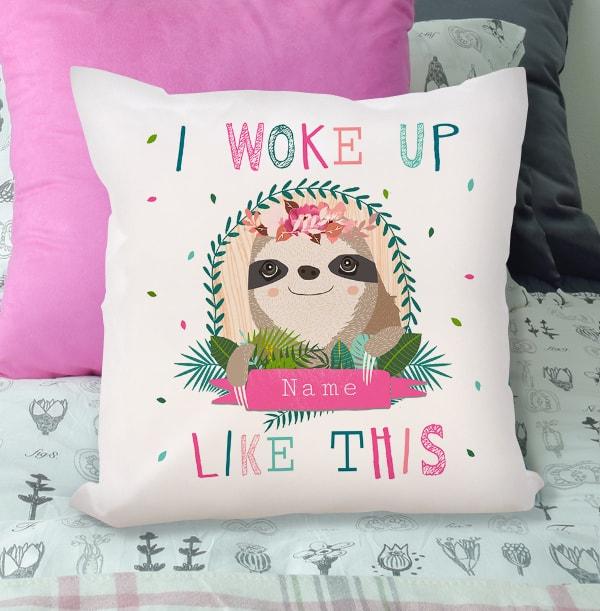 Personalised Sloth Cushion - Woke Up Like This