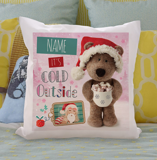 It's Cold Outside Barley Bear Personalised Cushion