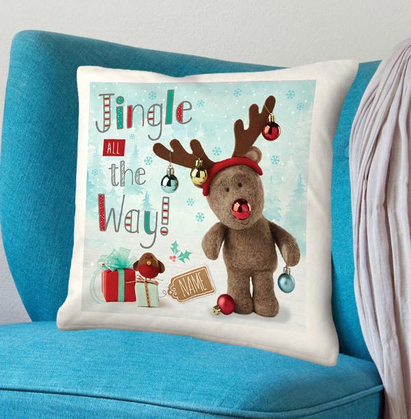 Jingle Barley Bear Personalised Cushion