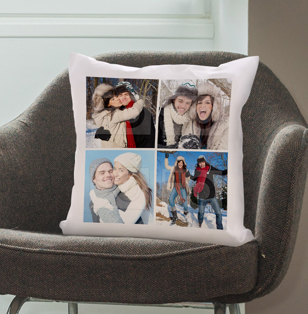 Christmas Four Photo Upload Cushion