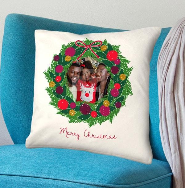 Christmas Wreath Photo Cushion