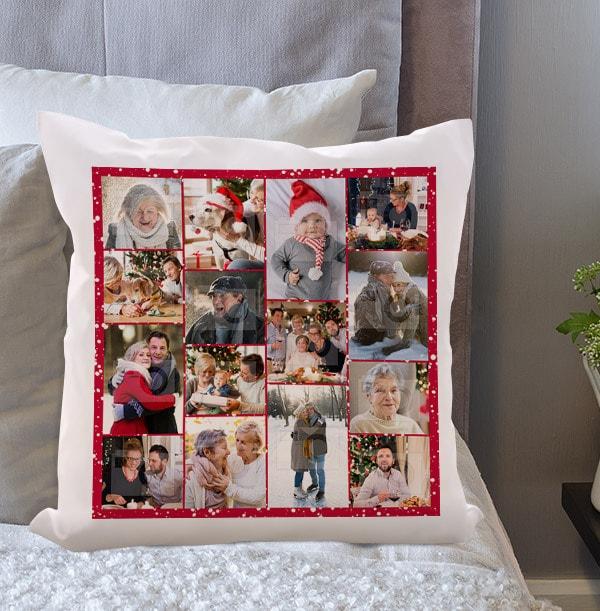 Fifteen Photo Christmas Cushion