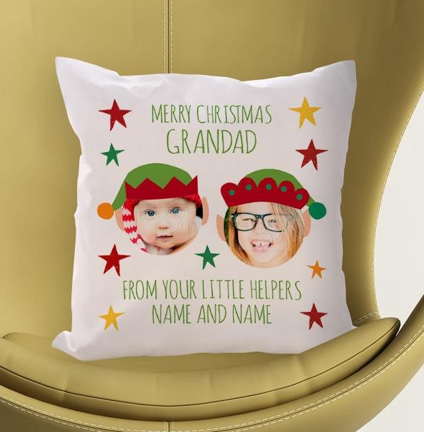 Merry Christmas Grandad Photo Cushion