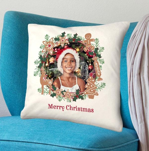 Wreath and Cookies Christmas Photo Cushion