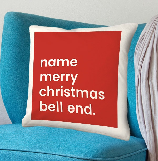 Merry Christmas Bell End Personalised Cushion
