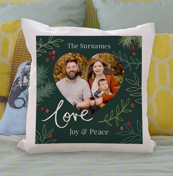 Love Joy and Peace Photo Cushion