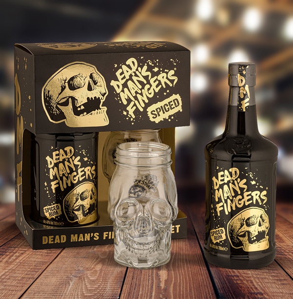 Dead Man's Fingers Spiced Rum 70cl with Skull Glass