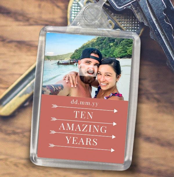 Ten Amazing Years Photo Keyring