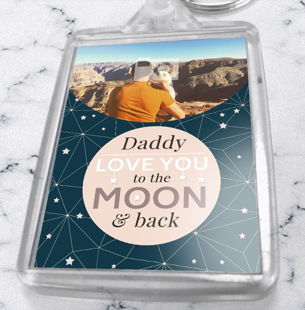 Daddy To The Moon Photo Keyring