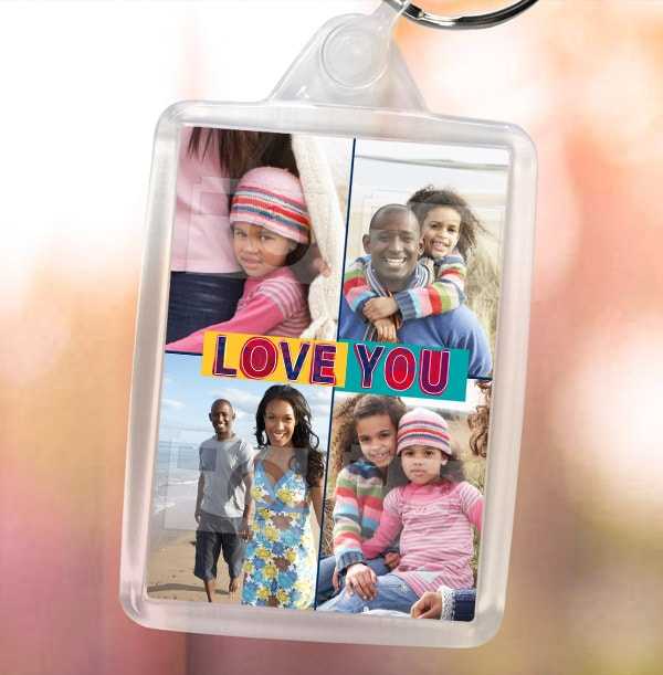 Love You Photo Collage Keyring