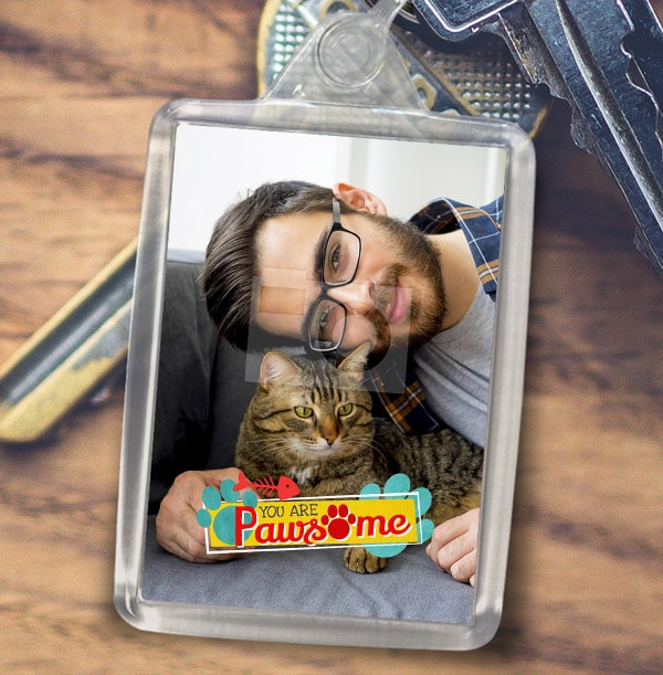 Pawsome Cat Photo Keyring