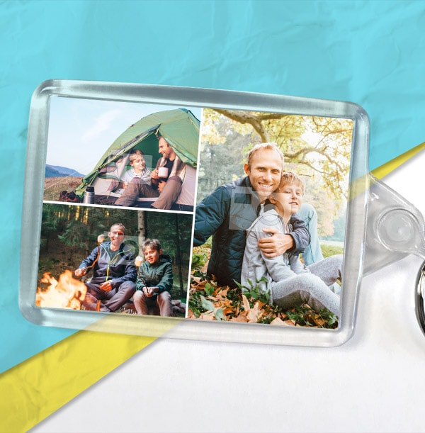 3 Photos Father's Day Keyring