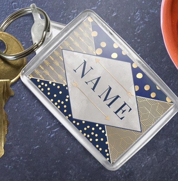 Personalised Blue & Gold Name Keyring