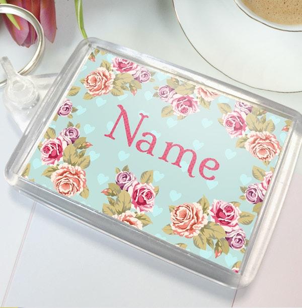 Personalised Floral Name Keyring