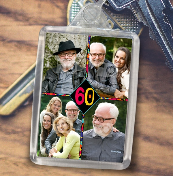 60th Birthday Photo Collage Keyring
