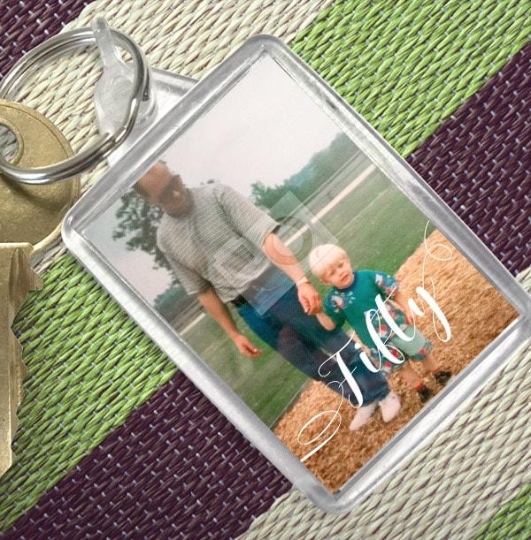 50th Birthday Personalised Photo Keyring