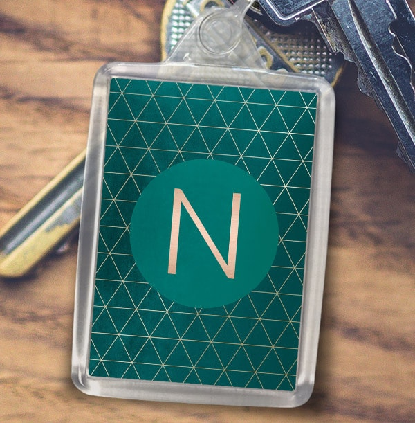 Green and Gold Personalised Initial Keyring