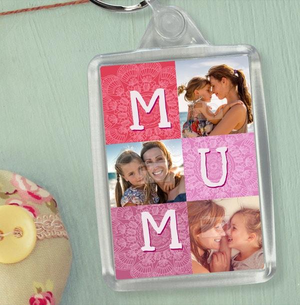 Mum Pink Photo Collage Keyring