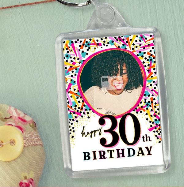 30th Birthday Photo Keyring