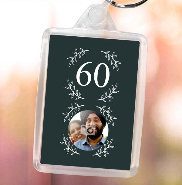 60th Birthday Photo Keyring