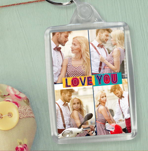 Love You Valentines Multi Photo Keyring