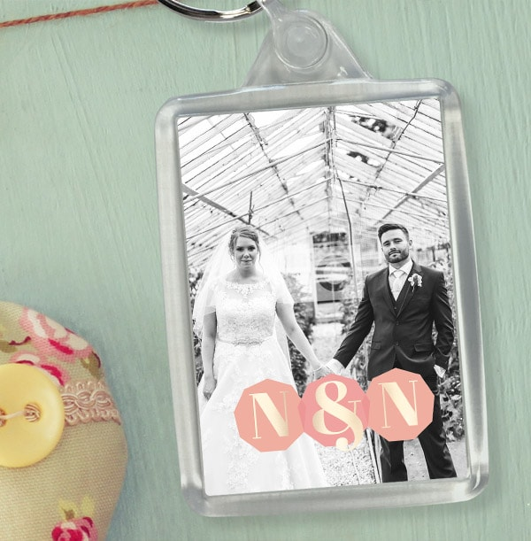 Couple's Initials Photo Keyring