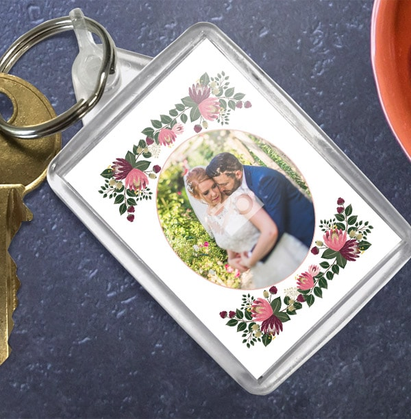 Floral Themed Photo Keyring