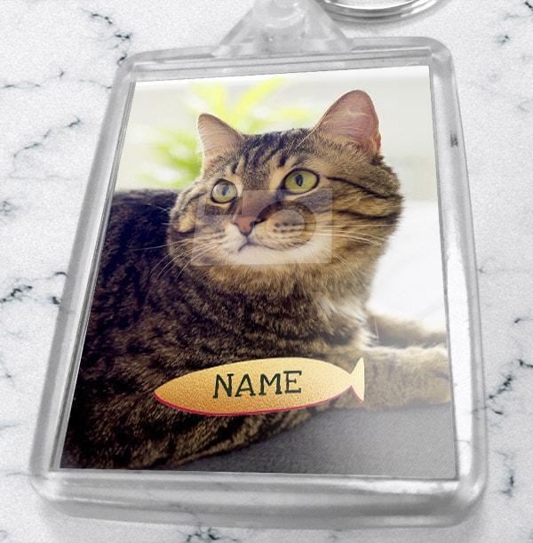 Cat Photo & Name Keyring