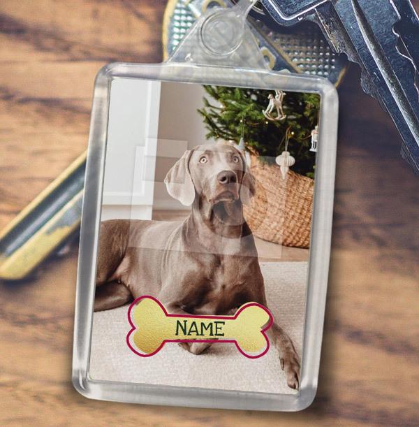 Dog Photo & Name Keyring