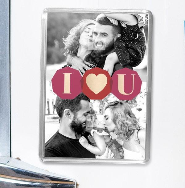 I Heart U Photo Magnet