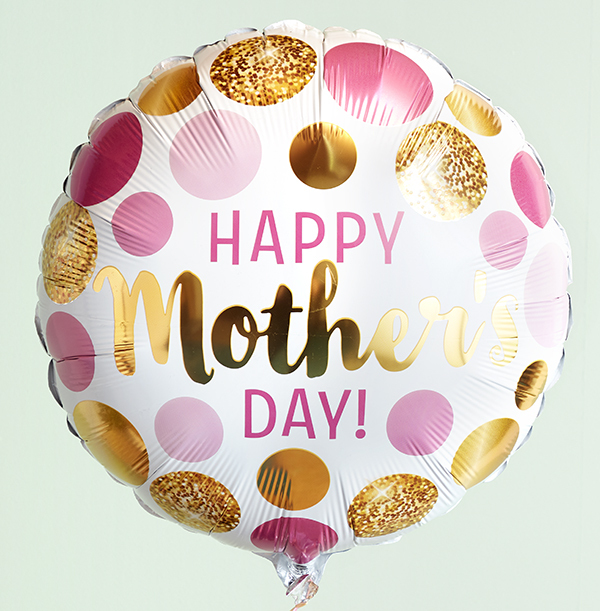 Mothers Day Gold & Pink Dots Balloon
