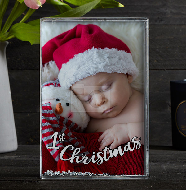 1st Christmas Acrylic Full Photo Block - Portrait