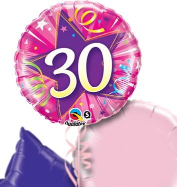 Pink 30th Birthday Balloon Bouquet