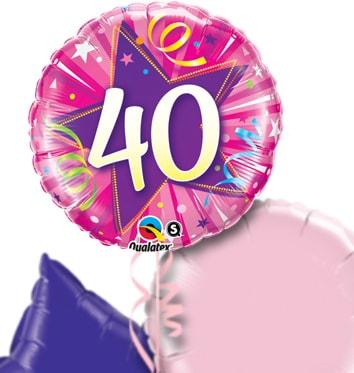 Pink 40th Birthday Balloon Bouquet
