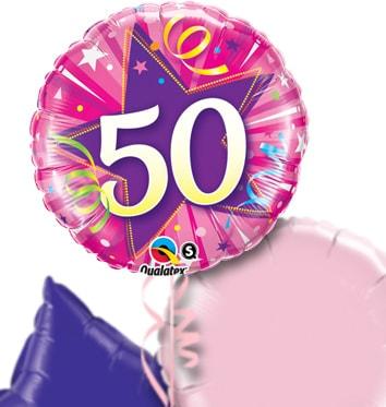Pink 50th Birthday Balloon Bouquet