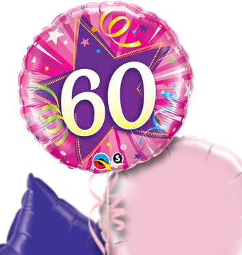 Pink 60th Birthday Balloon Bouquet
