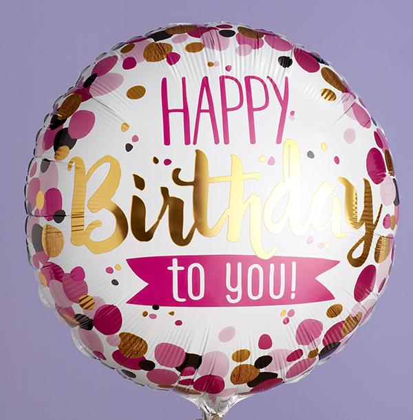 Pink & Gold Happy Birthday Balloon