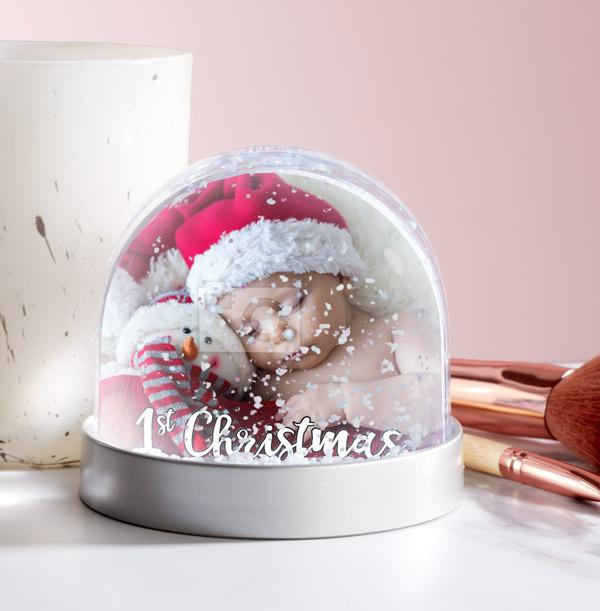 1st Christmas Photo Upload Snow Globe