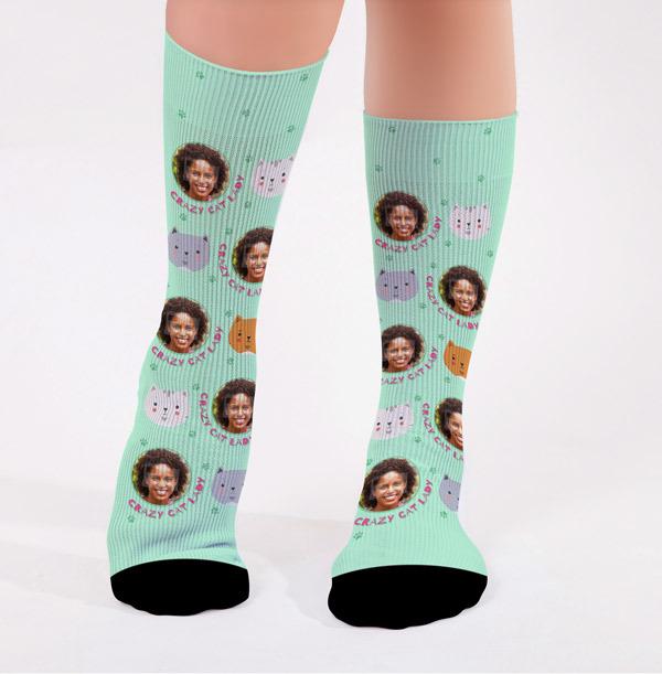 Personalised Crazy Cat Lady Photo Socks