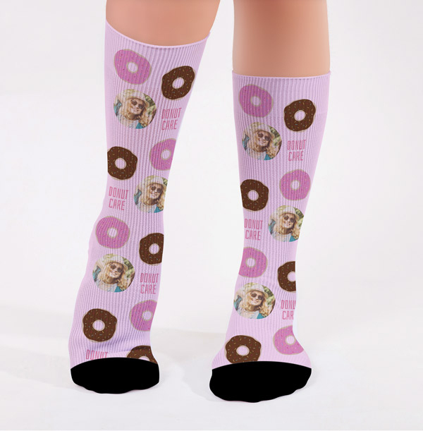 Personalised Donut Care Photo Socks