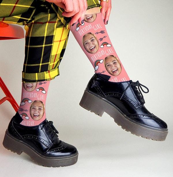Birthday Girl Photo Socks