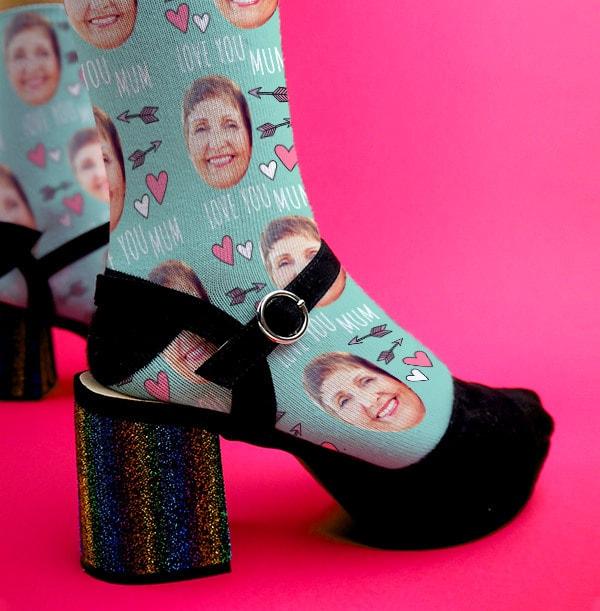 Love You Mum Photo Socks