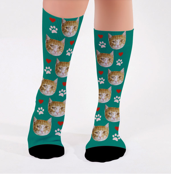 Personalised Cats and Heart Photo Socks