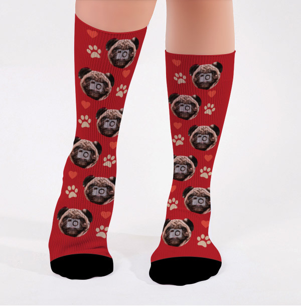 Personalised Dogs and Hearts Photo Socks