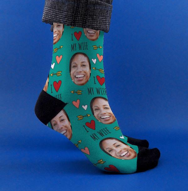 Personalised Wife Photo Socks