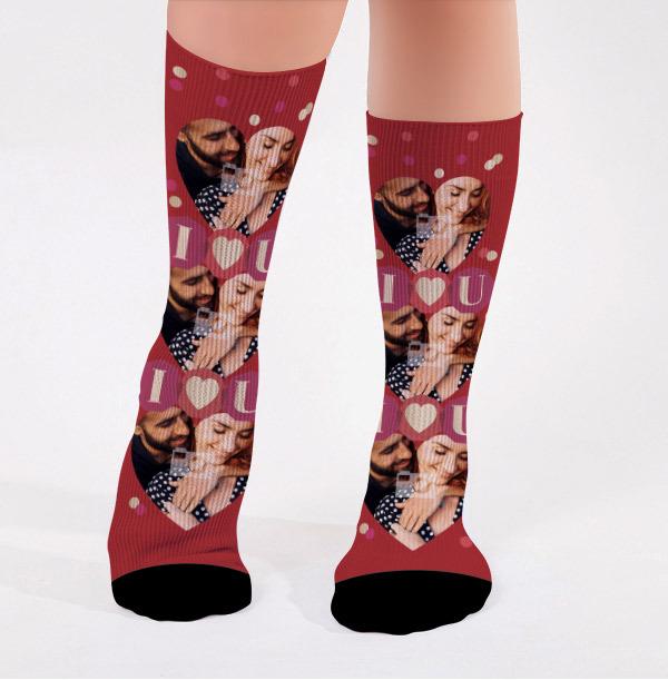 Personalised Love You Photo Socks